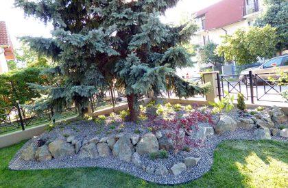 Uređeni kamenjar sa vrtnim rubnjakom Herbadesign ispod smreke nakon uređenja